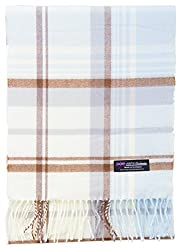 2 Ply 100 Cashmere Scarf Elegant Collection Made In Scotland Wool Solid Plaid Cream Light Blue Brown Plaid Jsf