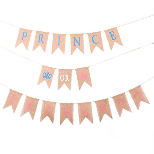 GOER Baby Shower Banner for Baby Shower Party Decorations,PRINCE OR PRINCESS Pattern Bunting,No DIY Required Natural Burlap Banner,Total Length 270 Inch -