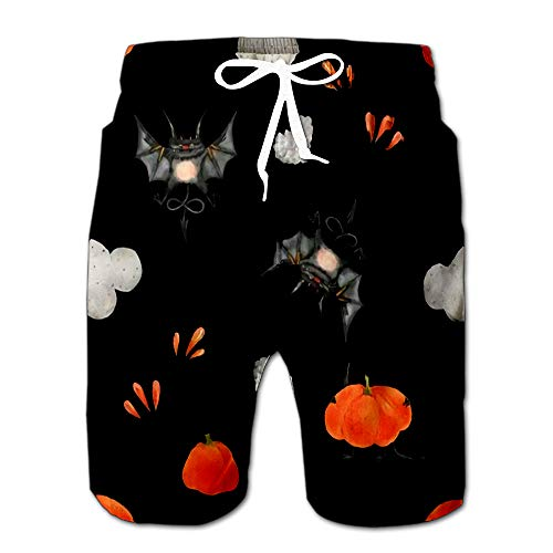 Quick Dry Watercolor for Halloween The Little Flying Devils and Pumpkins Beach Shorts Swim Trunks Board Shorts XL (Sun Devils Future Star)