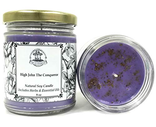 High John The Conqueror Soy Spell Candle for Power, Mastery, Luck, Influence & Prosperity (Wiccan, Pagan, Hoodoo, Magick)