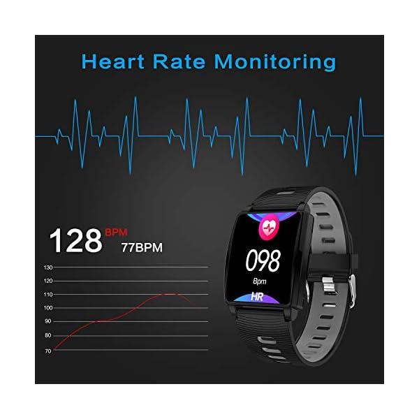 Reloj Inteligente, KINGLINK Smartwatch con Cronómetro Pulsera Inteligente Impermeable Monitor de sueño Pantalla Color Podómetro con Pulsómetro, Calorías IP68 para Android y iOS (Negro) 3