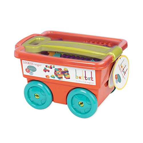 41zCF67nEnL - Battat - Locbloc Wagon - Building Toy Blocks for Toddlers (54 pieces)