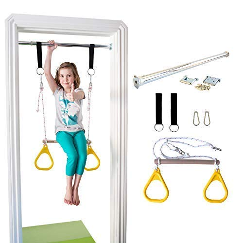 DreamGYM Doorway Gymnastics Bar | Trapeze Bar and Rings Combo | Yellow