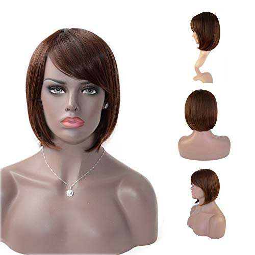Straight Short Bob Hair Wigs with Bangs Synthetic
