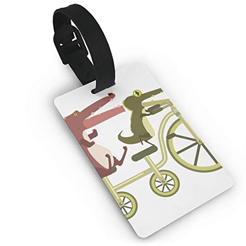 Luggage Tags Cartoon Alligators Are Riding Tandem Bicycle Baggage Name Tag Holder Labels