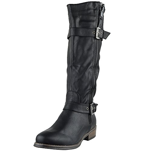 KSC Womens Knee High Boots Rugged Zipper Accent Motorcycl...