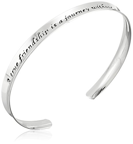 (Sterling Silver A True Friendship Concave Cuff Bracelet)