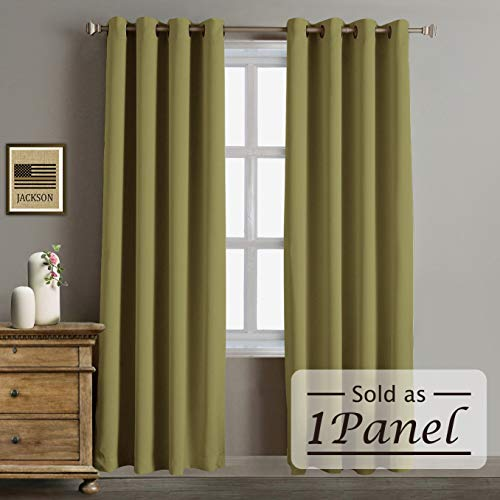 Rose Home Fashion RHF Blackout Thermal Insulated Curtain - Antique Bronze Grommet Top for Bedroom or Living Room, Grommet Curtain,1 Panel, 52W by 84L Inches-Olive