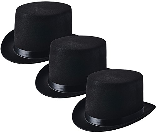 NJ Novelty - Black Felt Top Hat, Costume Dress Up Party Hat, Set of 3 -