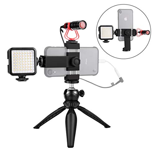 Smartphone Video Microphone Kit with LED Light,Phone Holder,Tripod Vertical & Horizontal Vlog YouTube Filmmaker Video Kit for iPhone 7 8 X XS MAX 11 Pro Samsung Huawei