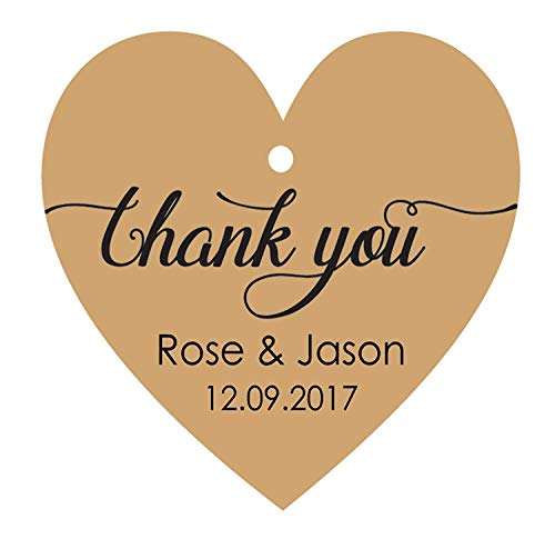 (100 PCS Personalized Wedding Favor Gift Tags Thank You Custom Made Heart Shape Hang Tags)