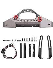RC Crawler Car Parachoques Delantero, RC Coche Metal Bumper con 2 Luces LED para Traxxas TRX-4 1/10 Escala RC Accesorio de Coches(Color Titanio)