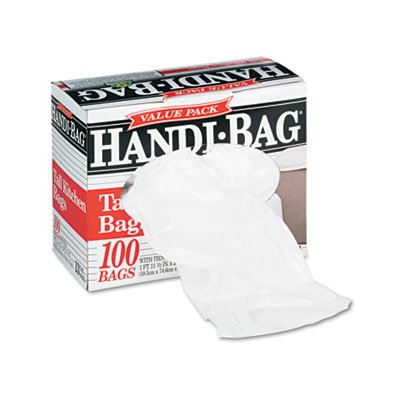 "Webster HAB6K100 Plastic Handi Bag Tall Kitchen Waste Can Liner, Super Value Pack, 0.6 Mil, Flat Seal, 29"" x 23.5"", White (Pack of 100)"