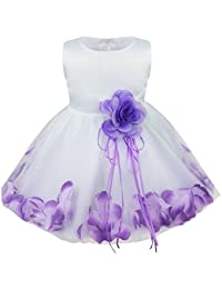 TiaoBug Baby Girls Flower Petals Tulle Formal Bridesmaid Wedding Party Dress