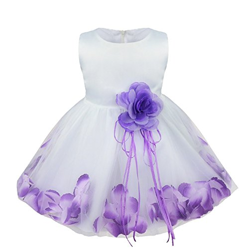 Beautiful Special Occasion Dress - TiaoBug Baby Girls Flower Petals Bow Bridal Dress Princess Pageant Wedding Bridesmaid Christening Formal Party Ball Prom Gown Purple 12-18 Months