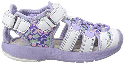 Geox B Sandal Multy Girl, Zapatos de Primeros Pasos para Bebés Multicolor (White / Lilac)