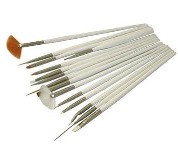 Wawo 15 Pc Nail Art Brush Set White Amazon Beauty