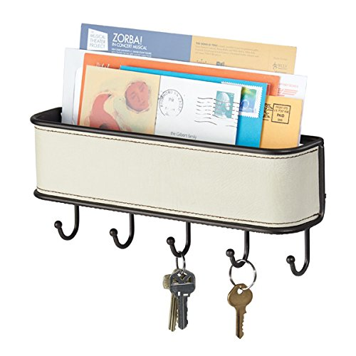 mDesign Wall Mount Mail and Key Holder Organizer for Kitchen, Hallway, Entryway - Cream/Bronze