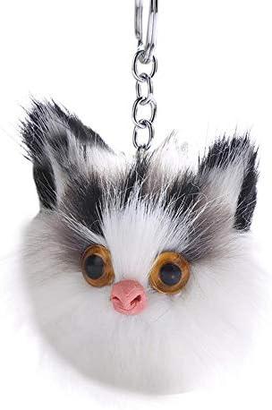 金属キーリングフェイクウサギの毛フクロウファジーボール動物かわいいキーチェーンペンダント飾り キーホルダー かわいい