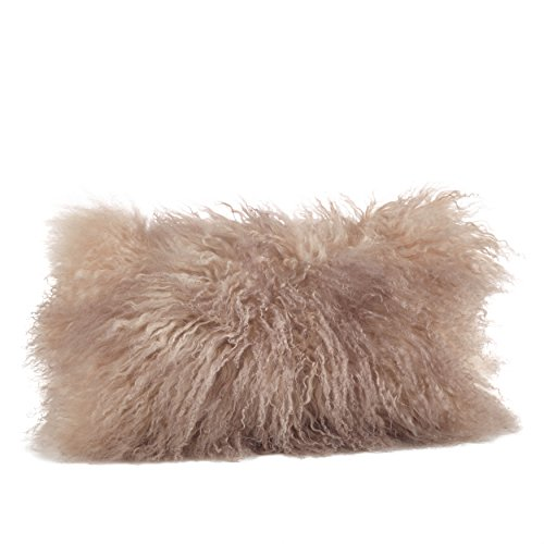 - SARO LIFESTYLE 100% Wool Mongolian Lamb Fur Throw Pillow with Poly Filling, 12