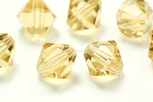 50 6mm Adabele Austrian Bicone Faceted Crystal Beads Gold Champagne Compatible with Swarovski Preciosa Crystalized 5301/5328#SSB628 (6mm Bicone Beads Faceted)