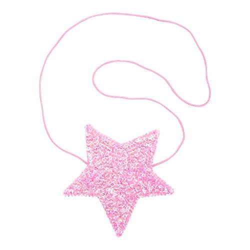 Sequined Star - Shu-Shi Girls Sequin Star Shaped Purse Bag Crossbody Long Strap