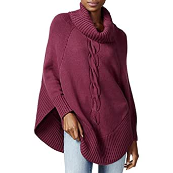 Maison Jules Womens Cable-Knit Poncho Sweater Savory Wine/Multicolored XS