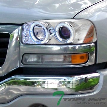 Chrome Led Halo Rim Projector Head Lights Gmc Sierra Yukon Denali