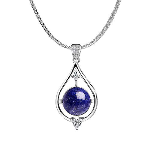iSTONE 925 Sterling Silver Natural Lapis Lazuli Ladies Pendant Necklace, Gemstone Birthstone with 18