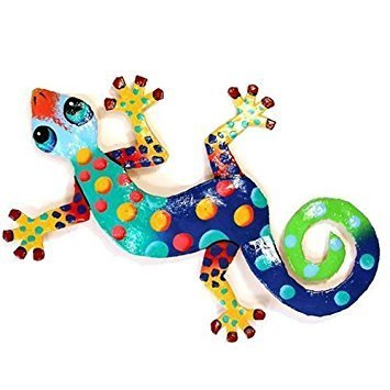 Recycled Metal Gecko, 8'' Wall Art Florida Design