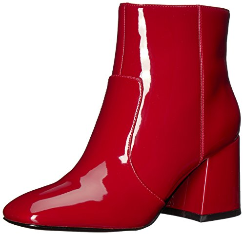 Nine West Women's Announcer Synthetic Ankle Boot, Red Synthetic, 9.5 Medium US