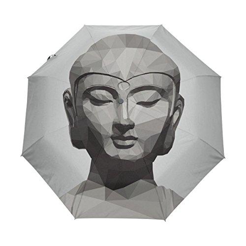 Elephants Parasol Art T-shirt - Buddah Buddhism Buddhist Zen Art UPF 50+ Anti-UV Parasol Waterproof Windproof 3 Folds Auto Open Close Lightweight Umbrella