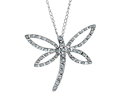 Accent Diamond Dragonfly Pendant Necklace in 14K White Gold with Chain
