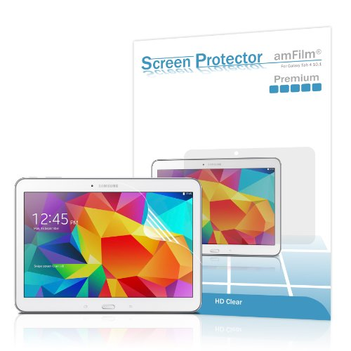 Galaxy Tab 4 10.1 Screen Protector, amFilm Screen Protector for Samsung Galaxy Tab 4 10.1 inch Premium HD Clear (2-Pack) (for 2014 Model Only) (Samsung Tablet Cover 4)