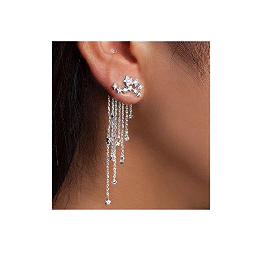 Tassel Earrings ManxiVoo Shooting Star Rhinestone Long Tassels Dangle Drop Earrings (Silver)