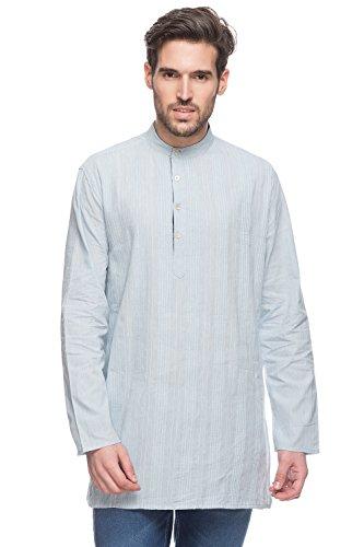 Shatranj Men's Indian Mid-Length Kurta Tunic Banded Collar Textured Shirt with Pin-Tucks; Light Blue; LG by Shatranj