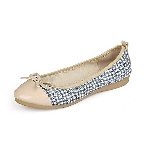 AgooLar Damen Blend-Materialien Gemischte Farbe Rund Zehe Niedriger Absatz Pumps Schuhe Blau