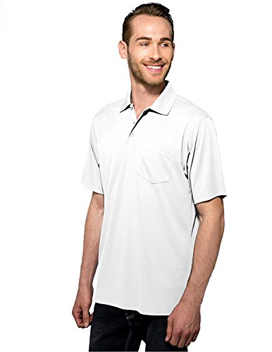 Tri-Mountain Men's 5 oz Moisture Wicking Polyester Shirt w/Pocket White 3X - Clearance Tall Big And