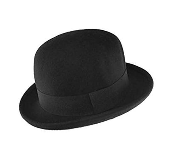 e52eaba935 Maz 100% Wool Felt Soft Crushable Bowler Hat (Satin Lined) in Black ...