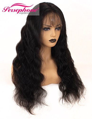 Search : Persephone Glueless Lace Front Human Hair Wigs, Body Wave Brazilian Virgin Lace Front Wig with Baby Hair for African American Women Remy Human Hair Lace Front Wigs Pre Plucked 130 Density 24 Inch #1B