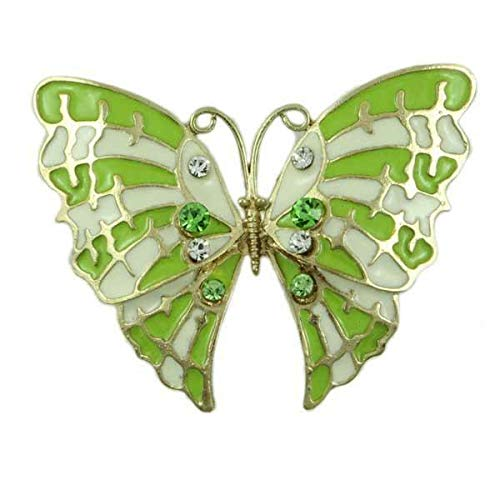 Antique White Lime Crystal - Pin for Backpacks - Lime Green and White Enamel and Crystal Butterfly Brooch Pin - Accessories for Clothes