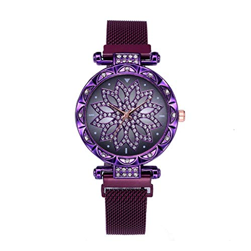 Tantisy ♣↭♣ Women's Crystal Encrusted Bracelet Watch Diamond Accented Rose Cut-Out Dial Swarovski Colored Crystal Watch