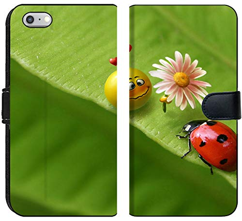 (Apple iPhone 6 or 6S Flip Fabric Wallet Case Image of Ladybug Insect Nature red Macro Green Beetle Spring Leaf Ladybird Summer Garden Bug Animal Beauty)