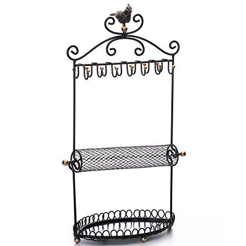 Ikee Design Metal Jewelry Organizer/Jewelry Stand Tree Display/Earring Necklace Bracelet Ring Holder Organizer Rack Tower A Mesh Roller (Black)