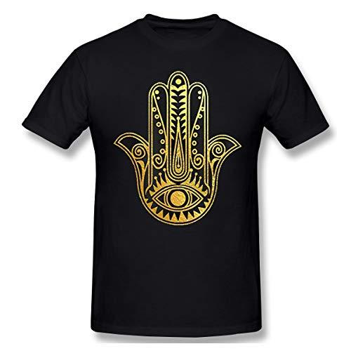 Lanmei Gold Foil Hindu Hamsa Hand Mens Cotton T-Shirt L