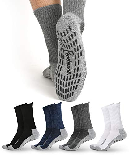 Non Skid Crew Socks - (4 Pairs) - S/M - Anti Slip Socks for Barre Yoga Pilates Maternity Pregnancy Hospital Adults Men Women