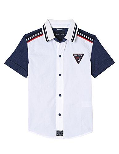 Woven Boys Shirt - Nautica Boys' Short Sleeve Printed Woven Shirt, Taos White, 7