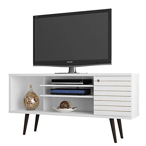- Manhattan Comfort Liberty Collection Mid Century Modern TV Stand With One Cabinet and Two Open Shelves With Splayed Legs, White/Wood