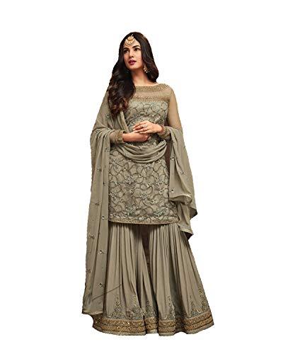 New Desiner Indian/Pakistani Ethnic wear Plazo Type Georgette Anarkali Gown Maisa 5708 (Mahendi, SMALL-38)