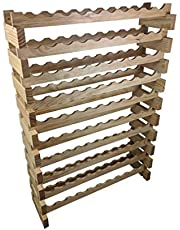 OZ BCP 100 Bottle Stackable Modular Wine Rack Wooden Timber Wine Storage Rack Free Standing Wine Holder Display Shelves, Wobble-Free, Solid Wood, (10 Row, 100 Bottle Capacity) … (Natural)